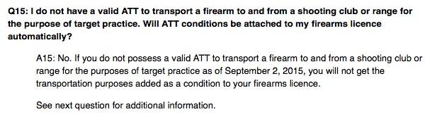 RCMP ATT firearms rules Canada