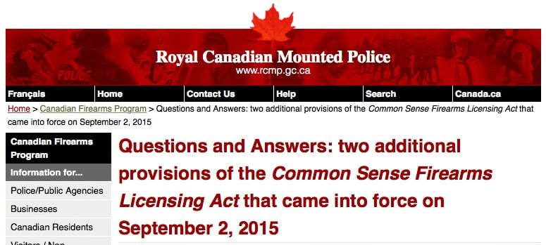 RCMP Firearm Law Details Canada