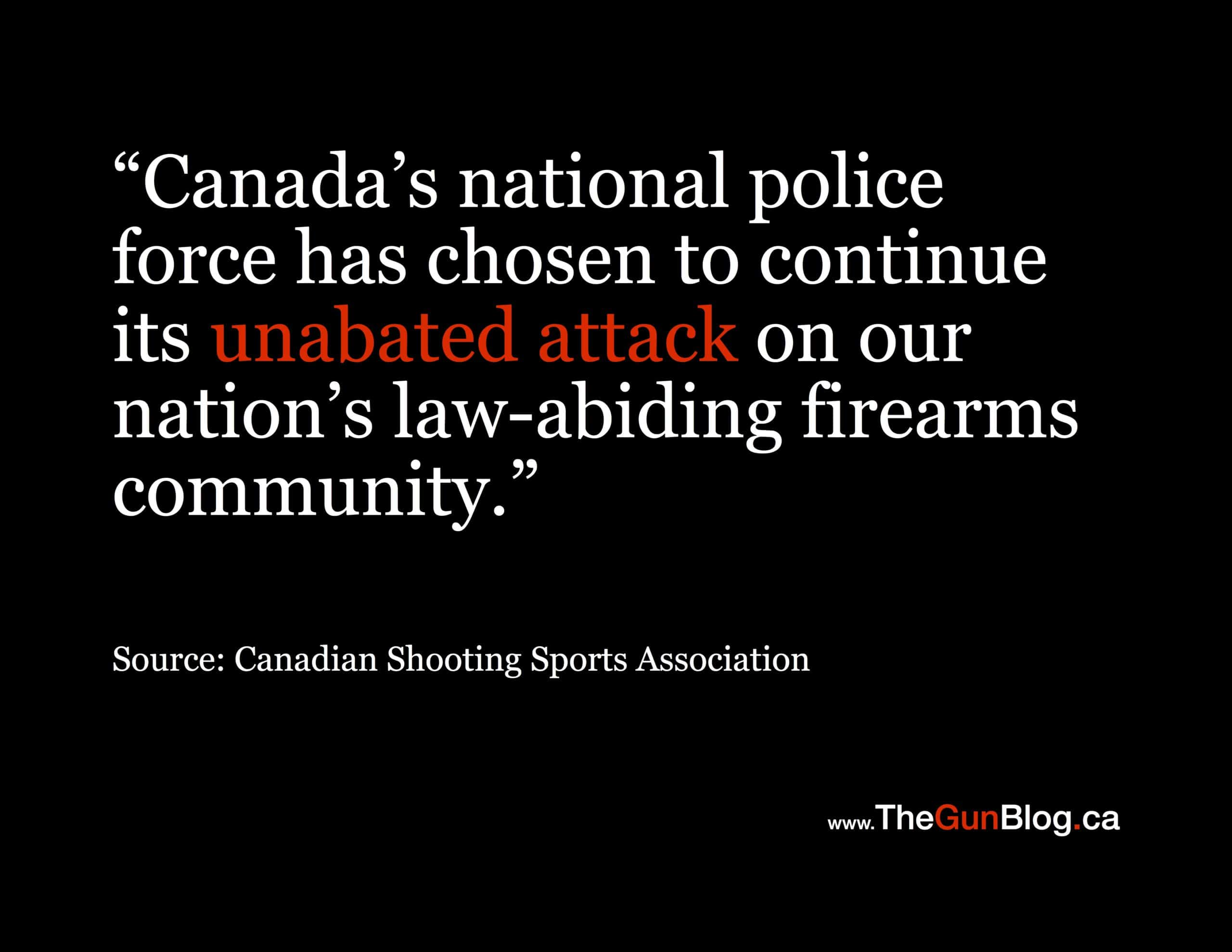 Canadian Shooting Sports Association national police attack firearms community