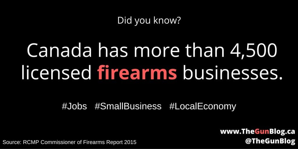 Canada has more than 4,500 licensed firearms businesses