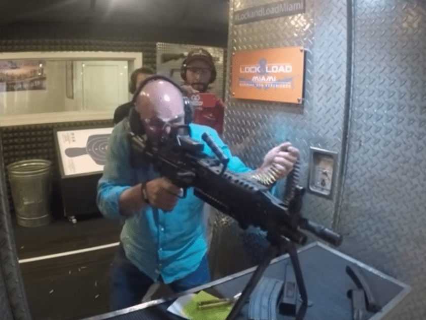 Kevin O'Leary shoots a belt-fed machine gun