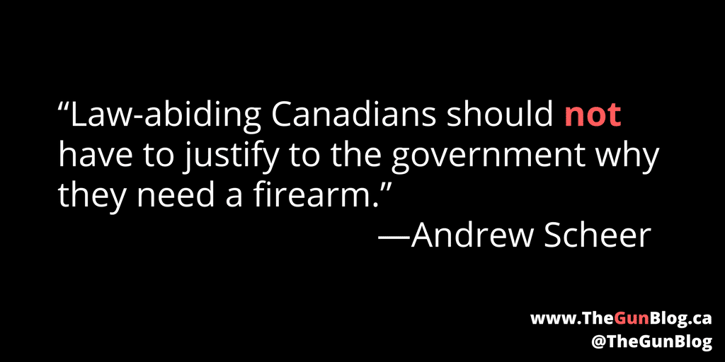 Andrew Scheer Conservative Leader Canada Guns Firearms Government