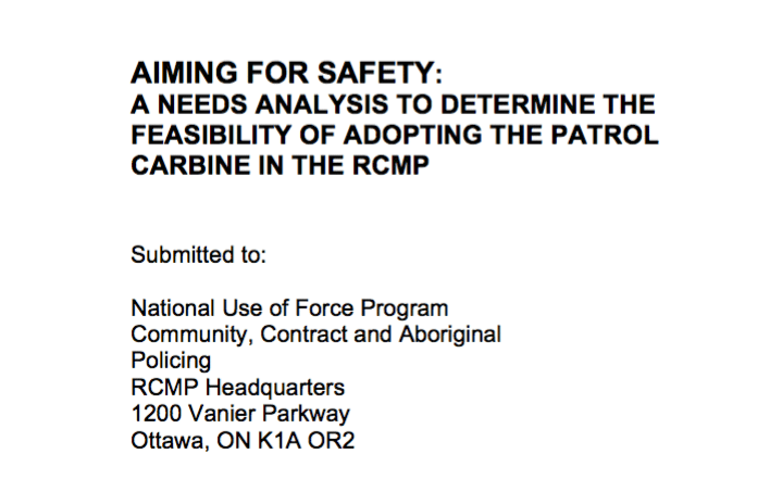 Canada RCMP Police AR-15 Rifle Patrol Carbine Report