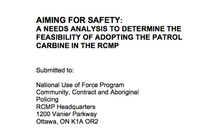 Canada RCMP Police AR-15 Rifle Patrol Carbine Report