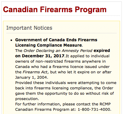 RCMP End of Amnesty Canada Gun Licence Firearms