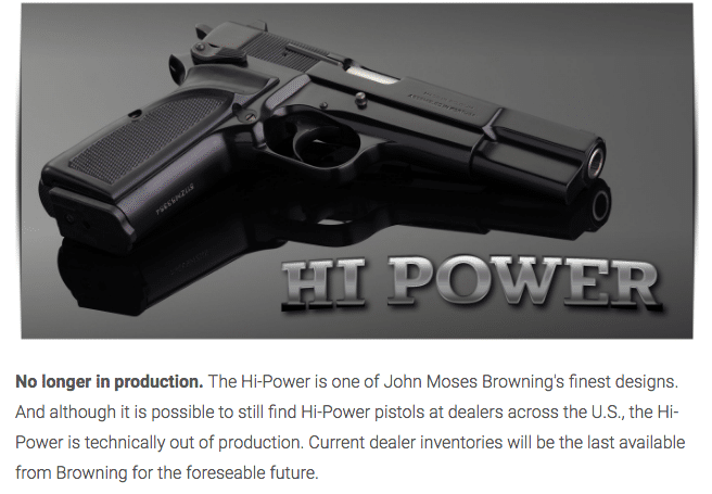 Browning Hi Power no longer in production