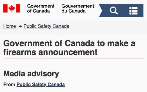 Canada Government Firearms Announcement