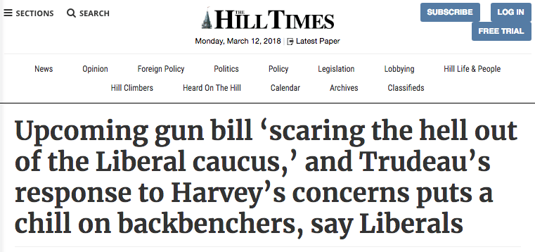 Canada Liberals Gun Law Scaring Hill Times