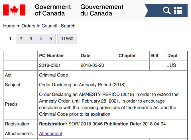 Canada Order in Council Firearm Licensing