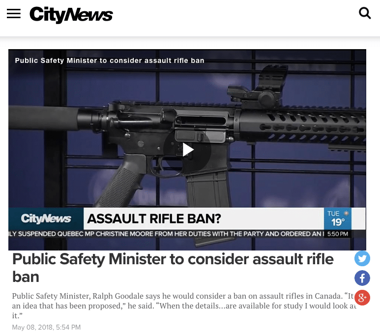 City TV Goodale Ban Assault Rifles - Did Goodale Just Say He'd Consider Unbanning 'Assault Rifles'?