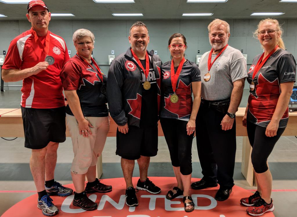 L-R: Mark Hynes, Pat Boulay, Allan Harding, Lynda Kiejko, Stan Wills, Elizabeth Gustafson. Photo by Michelle Stewart, 11 July 2018.