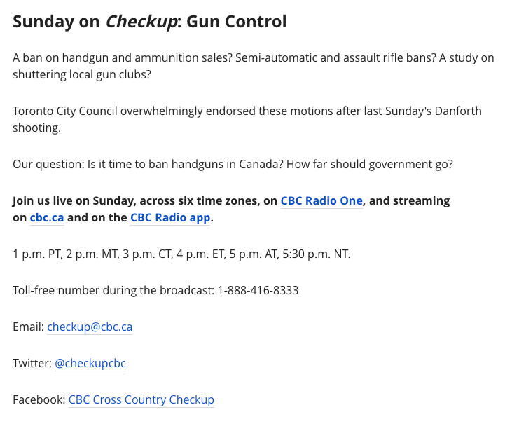 CBC Radio Cross Country Checkup Gun Ban