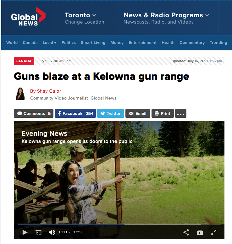 Global News Guns Blaze at Kelowna Gun Range