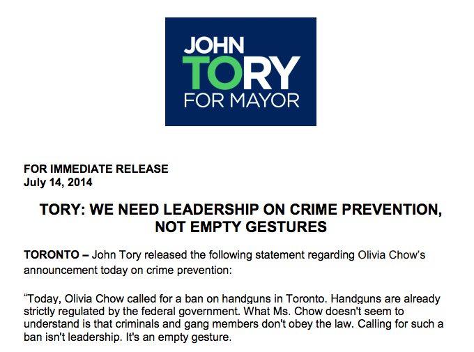 John Tory 2014 Handgun Ban Empty Gesture