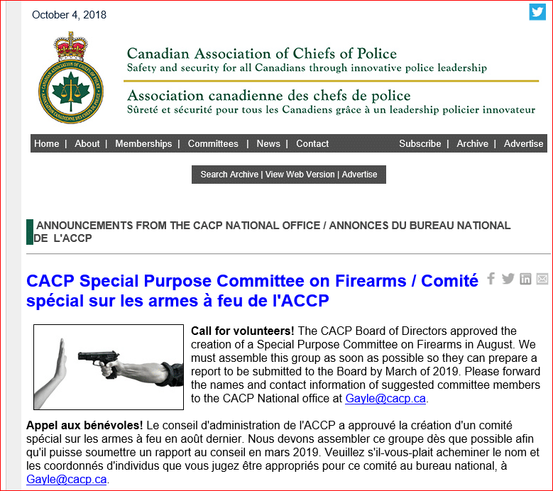 CACP Special Purpose Firearms Committee