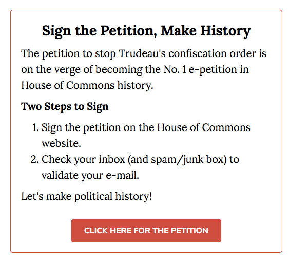 Screenshot 2020 01 28 13.56.22 - Petition to Stop Trudeau's Confiscation Order Surges to No. 1