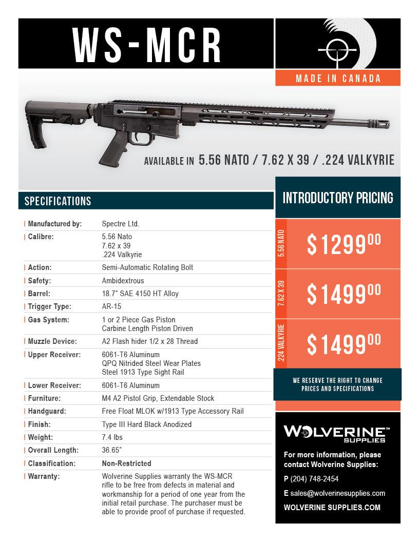 Wolverine Supples WS MCR Chart - Wolverine's John Hipwell Designs New WS-MCR Semi-Auto Rifle