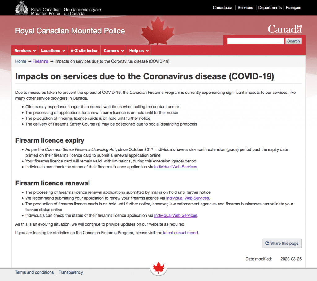 RCMP Firearms Program Updates on COVID-19 Impact on Services