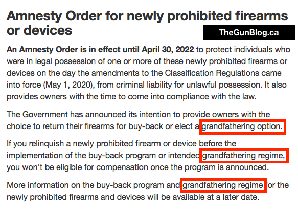 2020 05 01 RCMP Grandfathering Markup - RCMP Deletes 'Grandfathering' Option From Web Page on Gun Bans