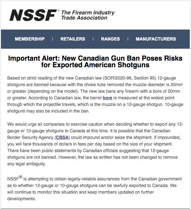 2020 05 08 NSSF Shotguns Alert - U.S. Shotgun Exporters Risk Confiscation Under Liberal Ban: NSSF