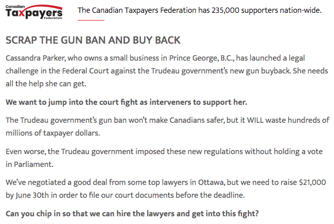 Canadian Taxpayers Federation to Join Lawsuit Against Gun Bans