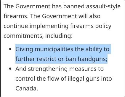 2020 09 23 Speech From the Throne 2020 Handgun Bans - Liberals Reiterate Goal to Eliminate Handguns Via Municipalities
