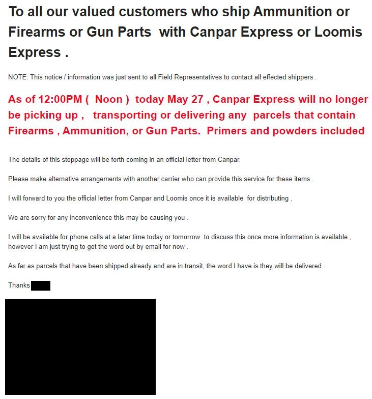 Photo of Canpar message to clients about stopping shipments of guns and ammo
