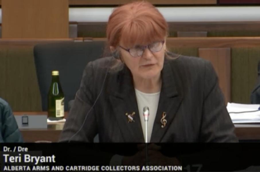 Photo of Teri Bryant testifying on Bill C-71 to Senate committee, 01 April 2019.