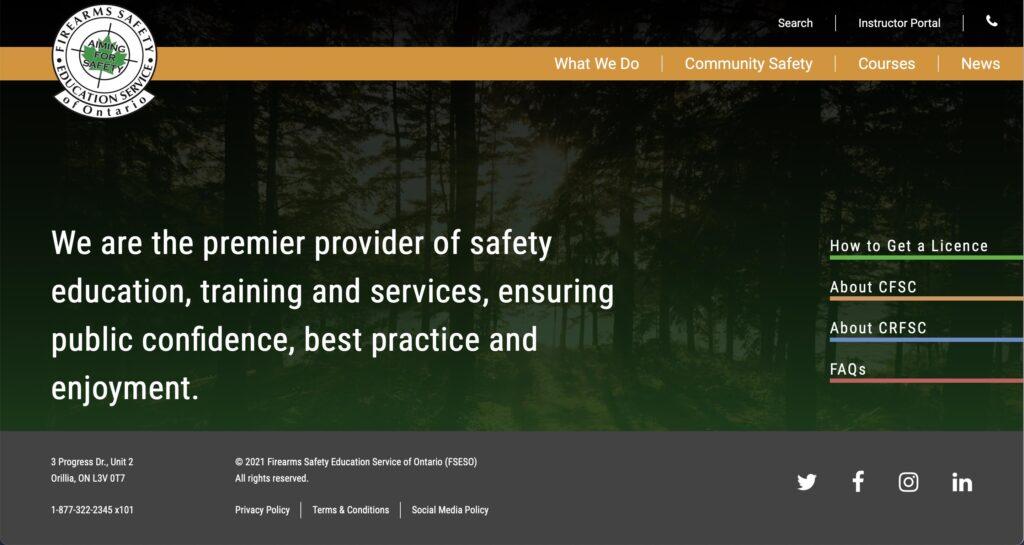 Photo of FSESO homepage.